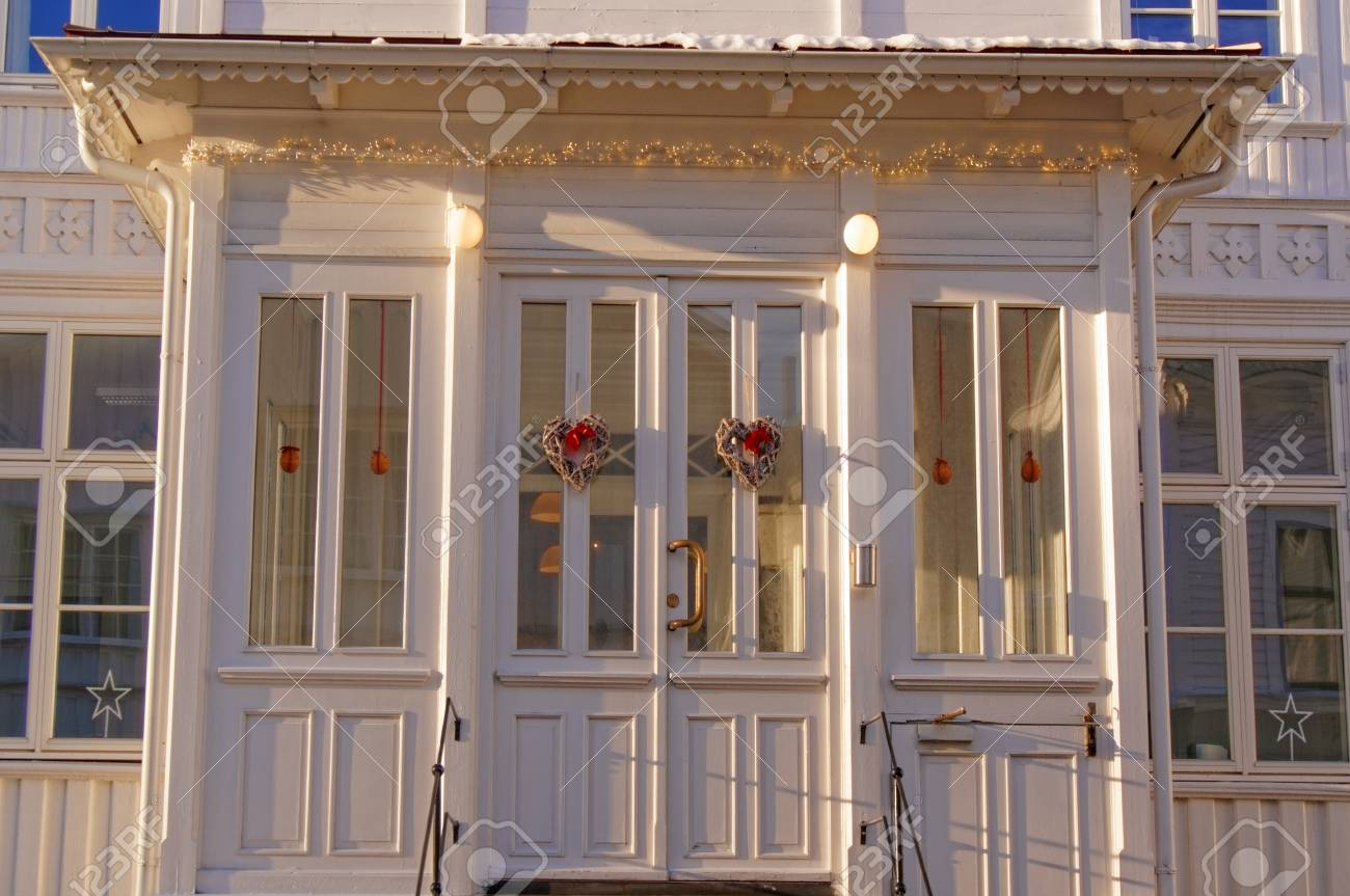 Superior White Wooden Windows At The Entrance To The House. Entrance To The Wooden  Porch.