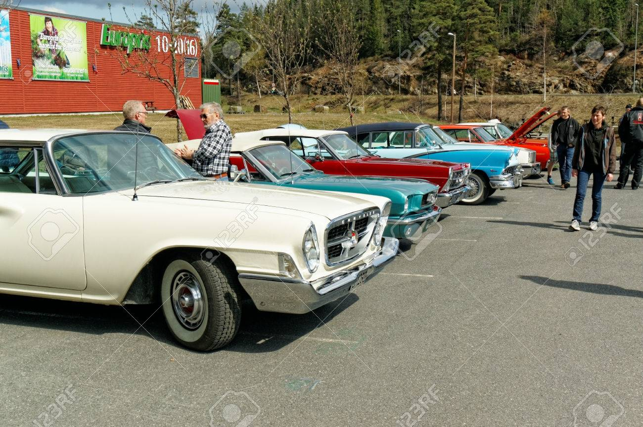Grimstad, Norway - 1 May 2015: Colorful Old Cars At American ...
