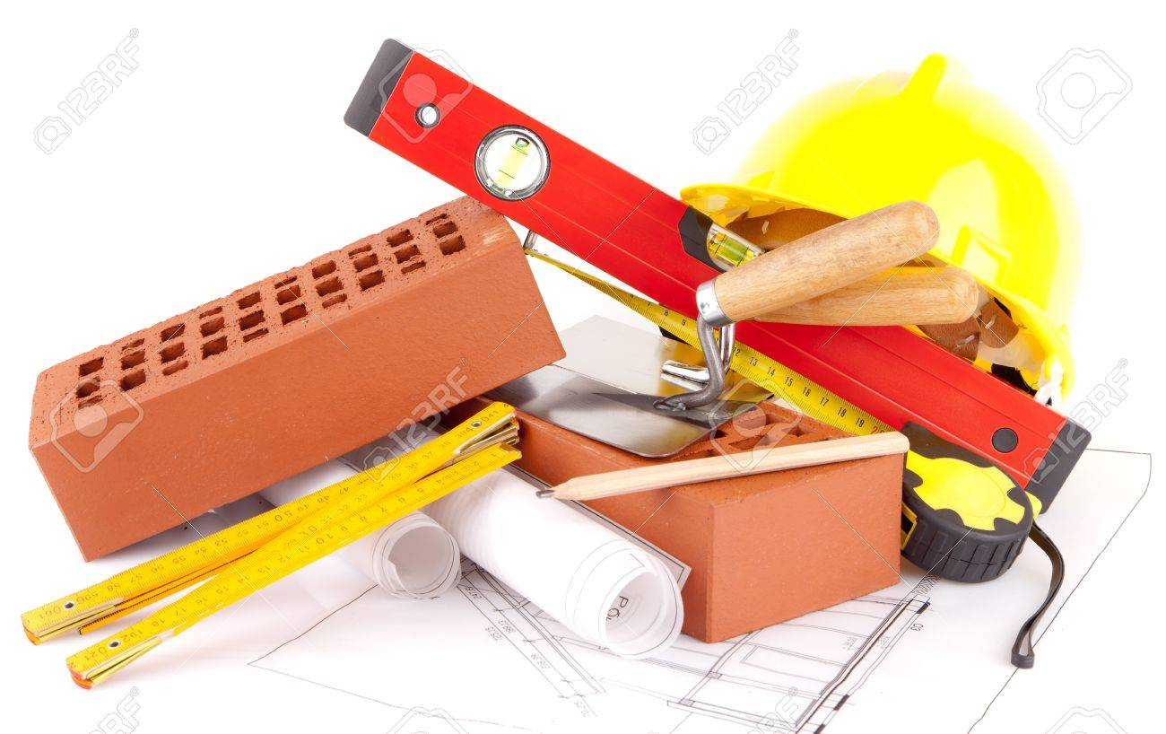 mason tools and house construction plans stock photo picture and mason tools and house construction plans stock photo 15453761