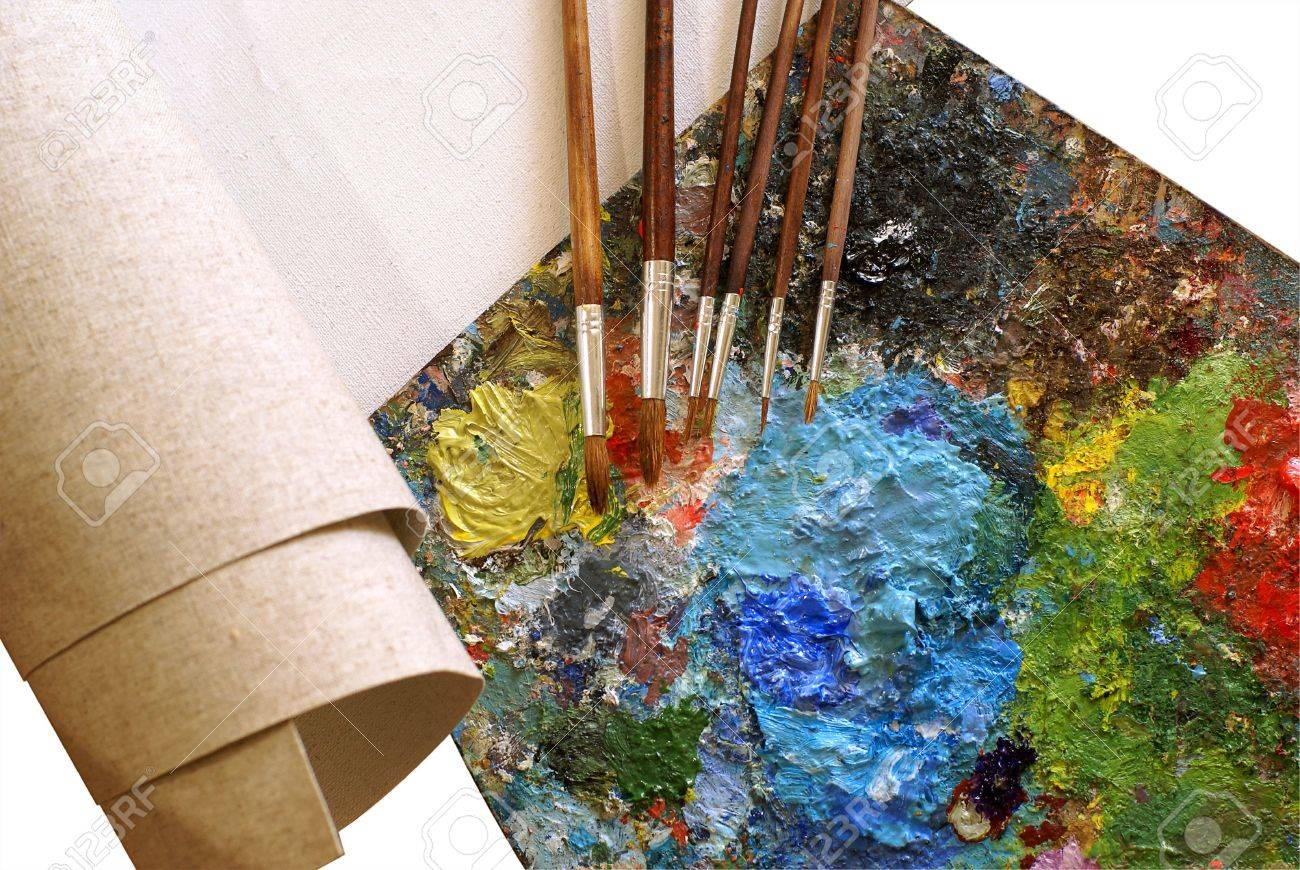 set for painting - canvas, palette, paintbrushes over white background Stock Photo - 2743535