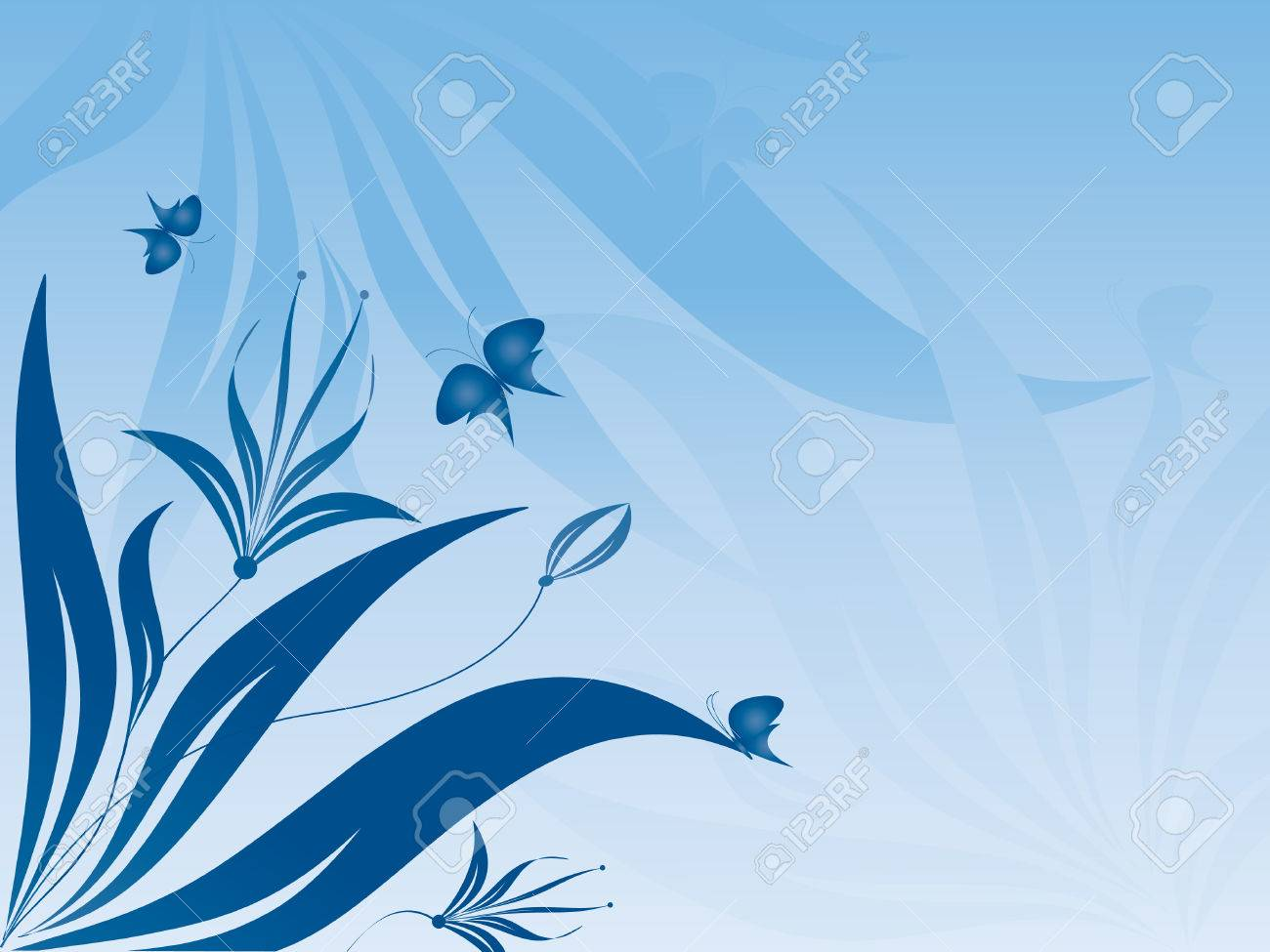 floral abstract vector with butterflies in blue colors. Gradients used Stock Vector - 3101238