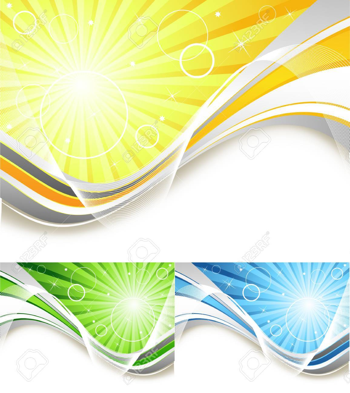 bright vector background with sunbeams in three colors Stock Vector - 6524634