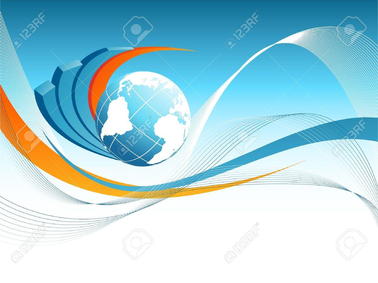 abstract vector background with creative bar graphs and globe Stock Vector    10231800. Abstract Vector Background With Creative Bar Graphs And Globe