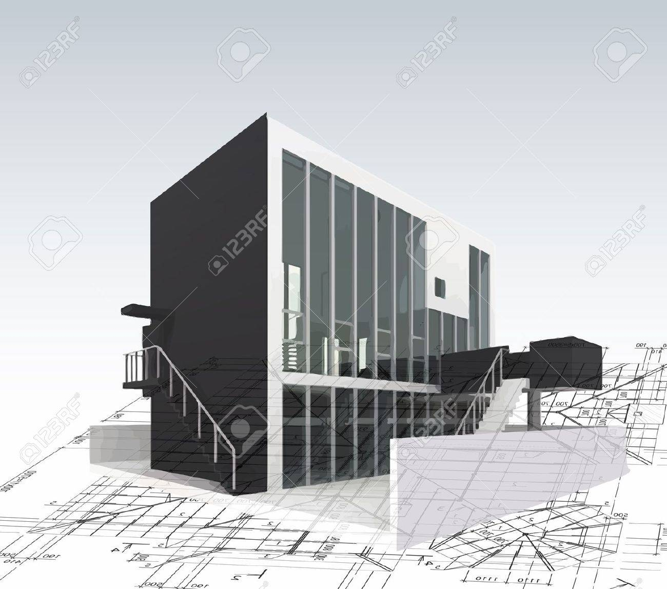 Architecture Model House With Plan And Blueprints Royalty Free