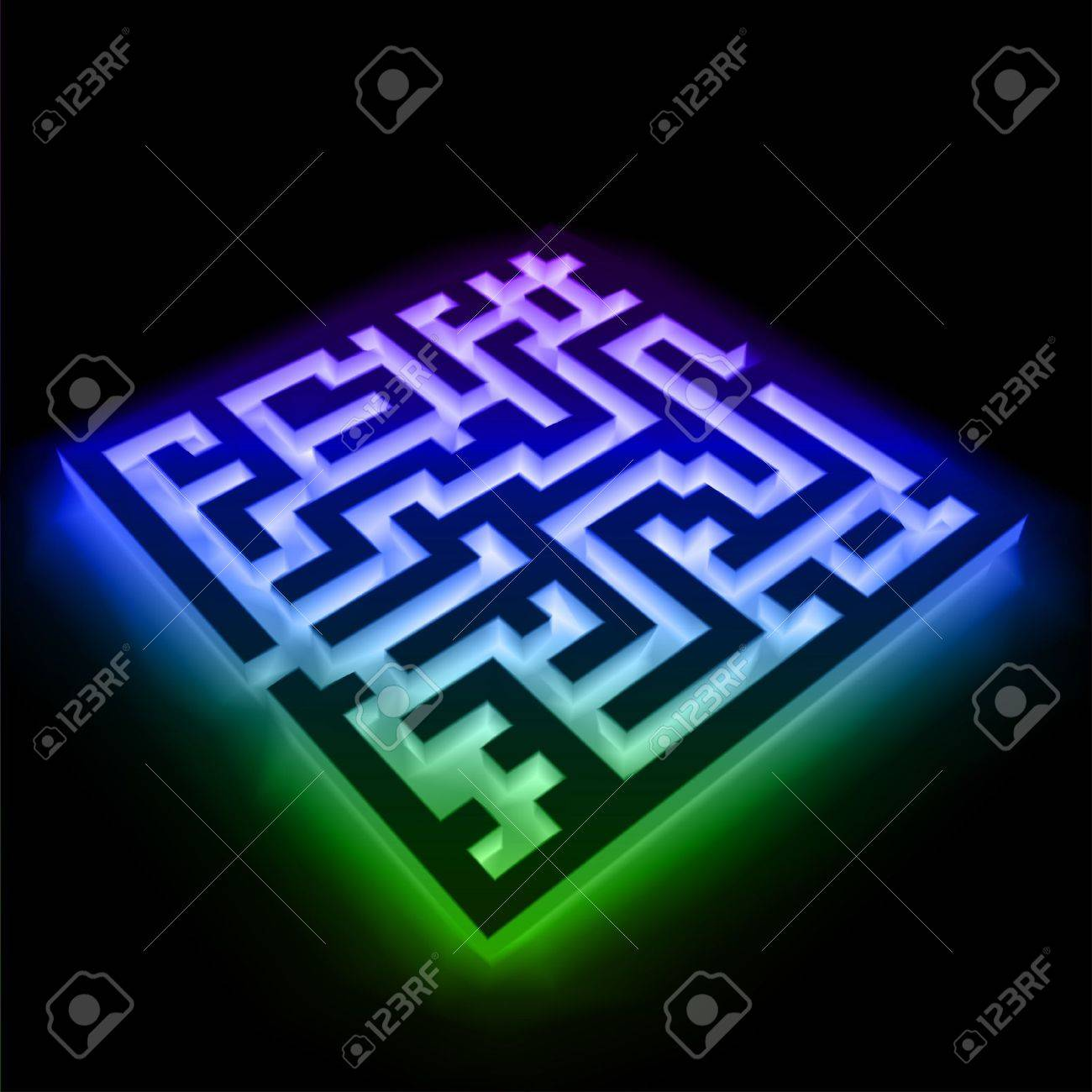 Colorful maze  labyrinth  on black background Stock Vector - 13004472
