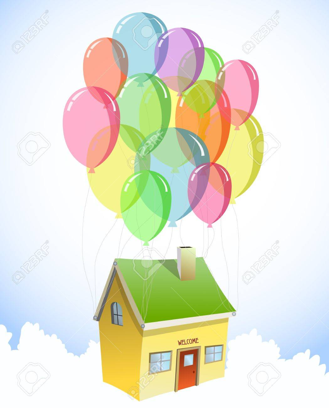 Up House Balloons House With A Lots Of Colorful Balloons Vector Royalty Free