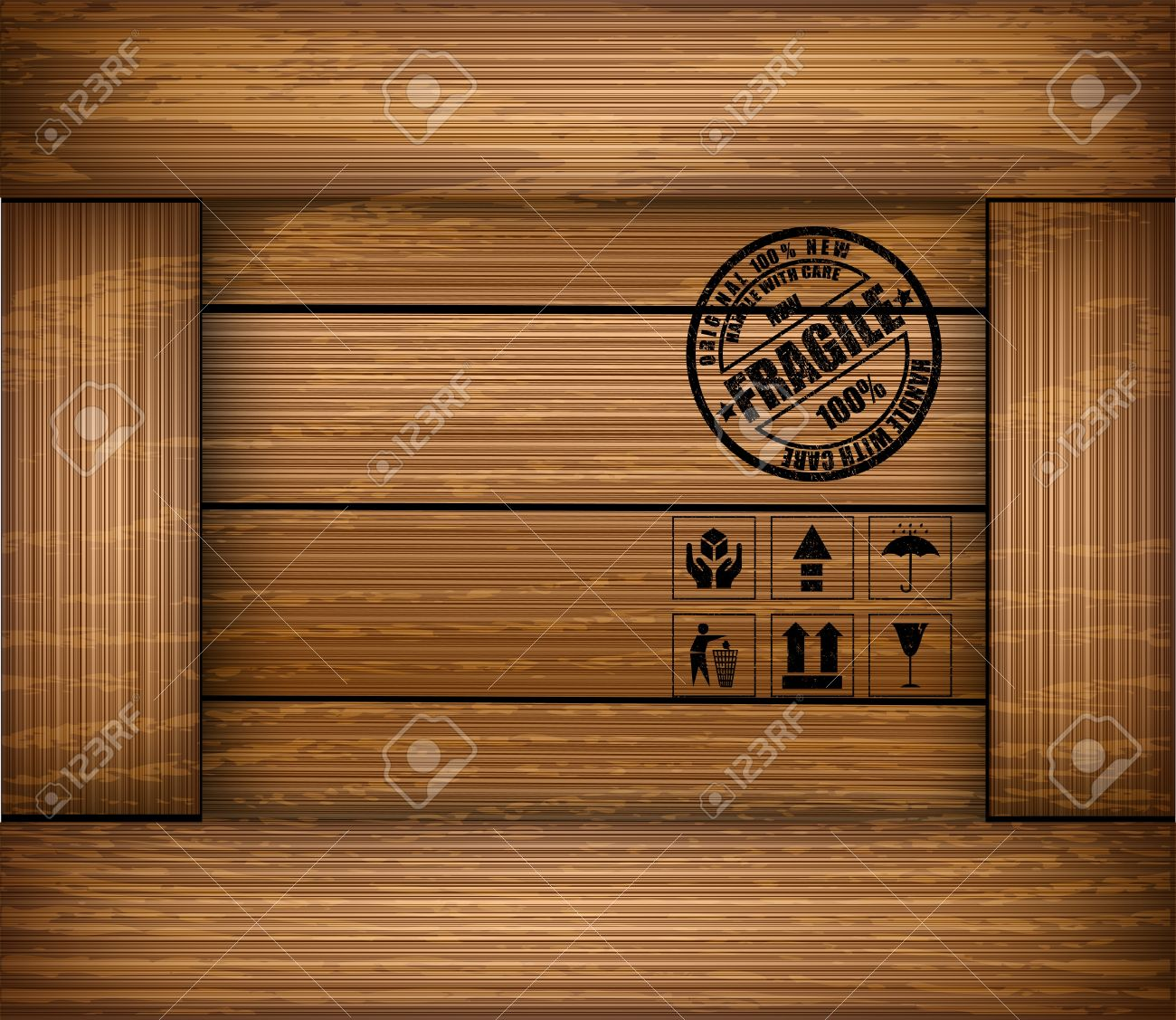 Safety fragile sticker icon on texture wooden box Stock Vector - 14192369