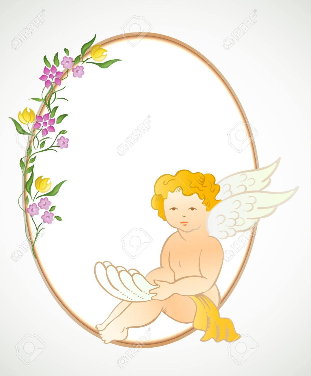 Angel With Flowers And Oval Frame Vector Royalty Free Cliparts ...