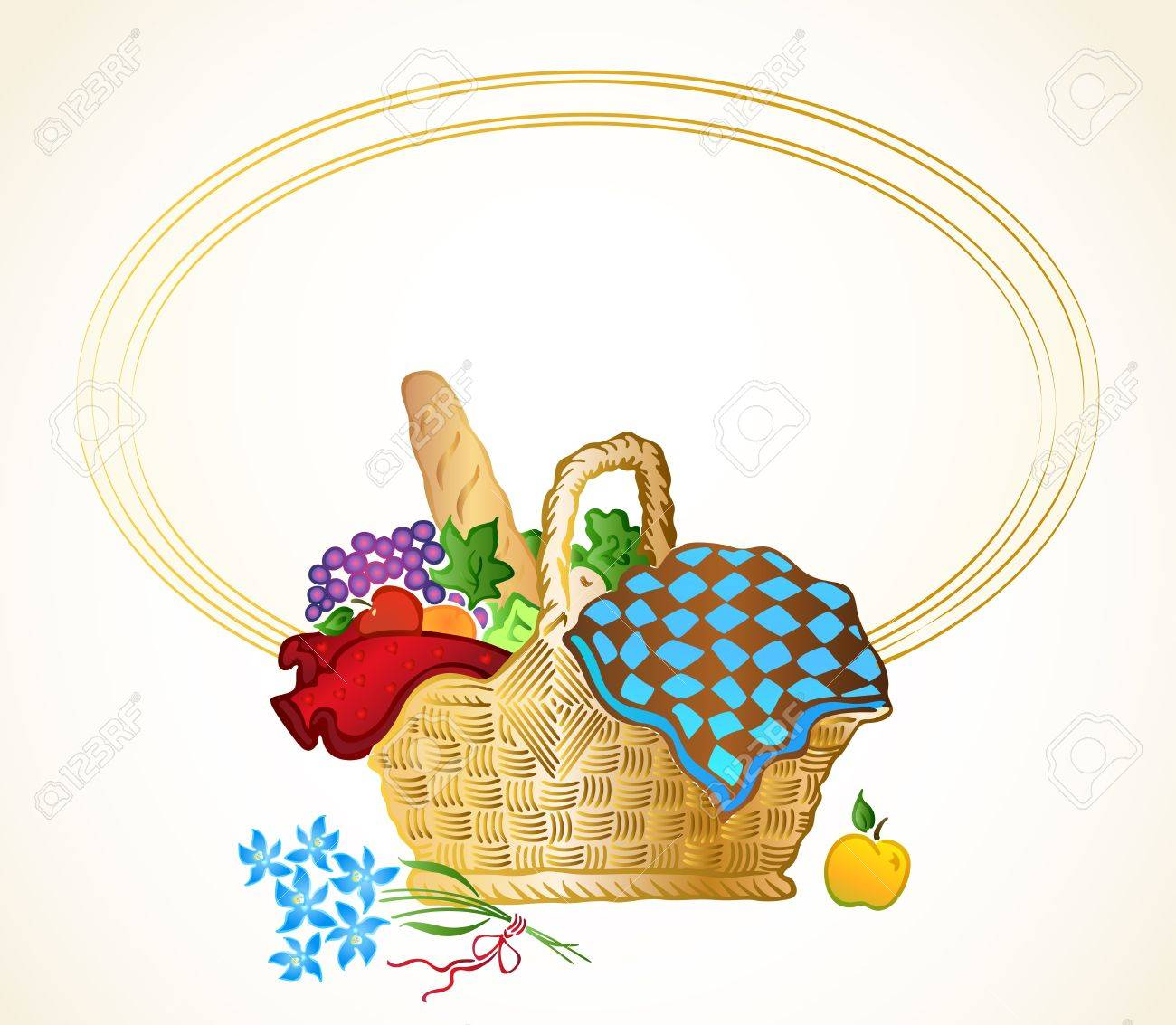 Bunch of food in the basket background - 14313436