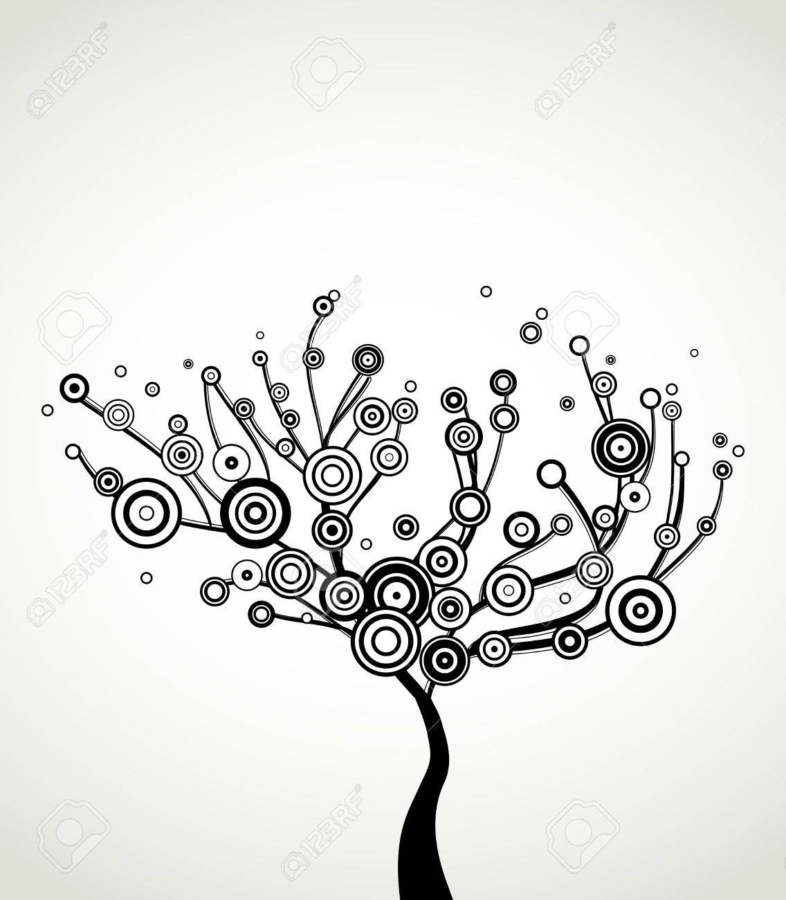 Tree with round leaves  Vector background Stock Vector - 14408908