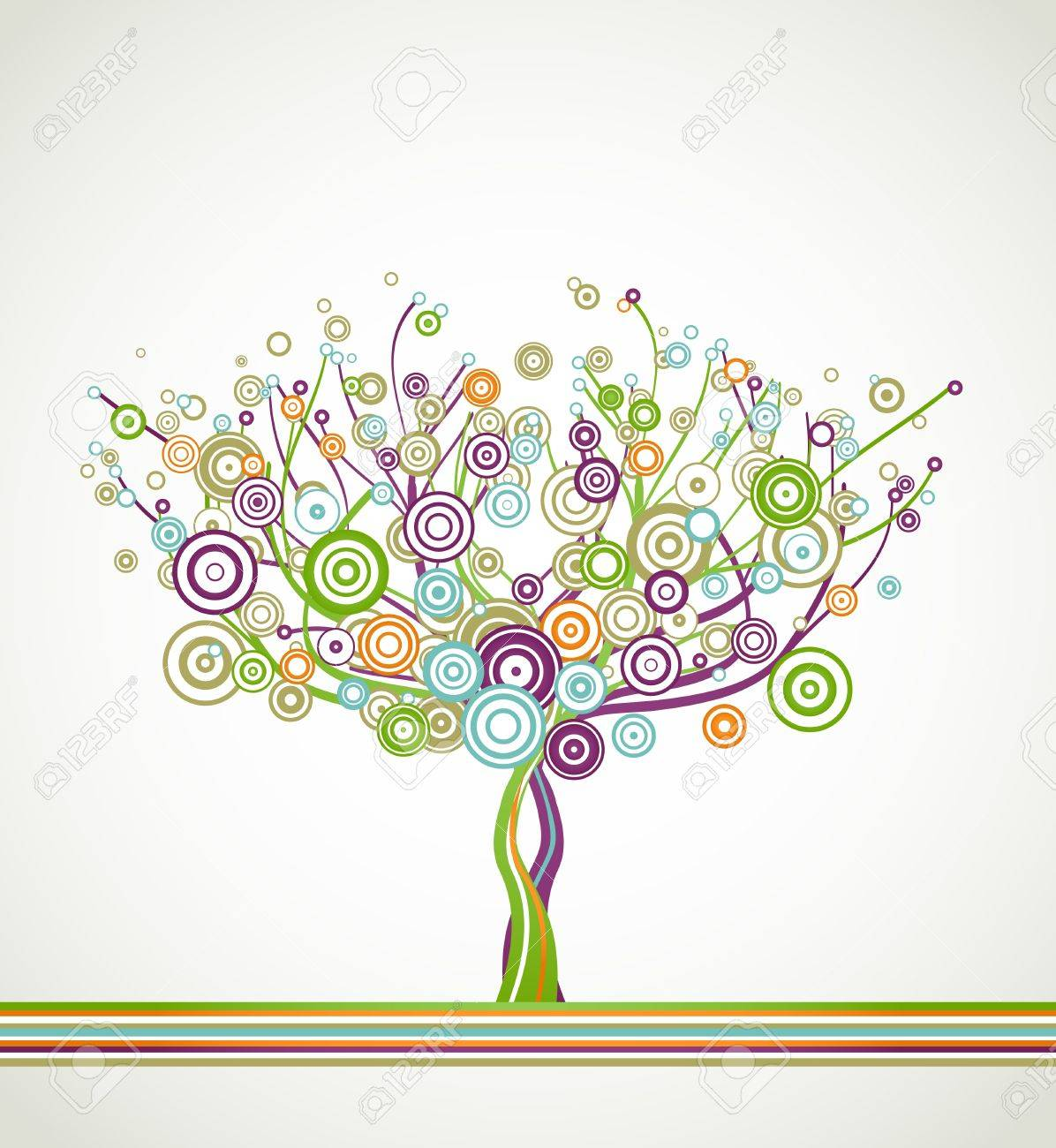 Tree with circle colorful leaves  Vector background Stock Vector - 14408909