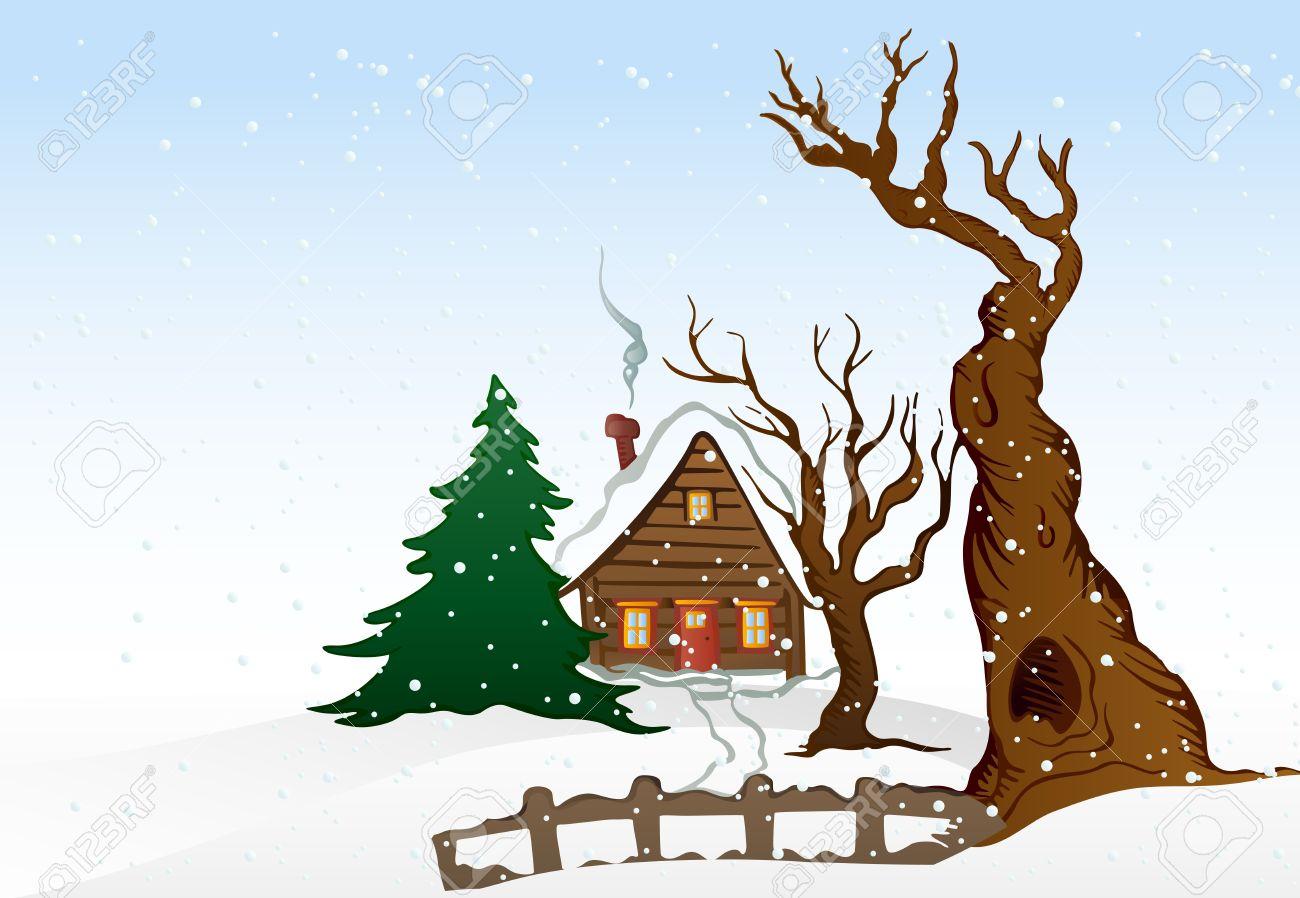 Illustration maison de dessin animé hiver banque dimages 14488198