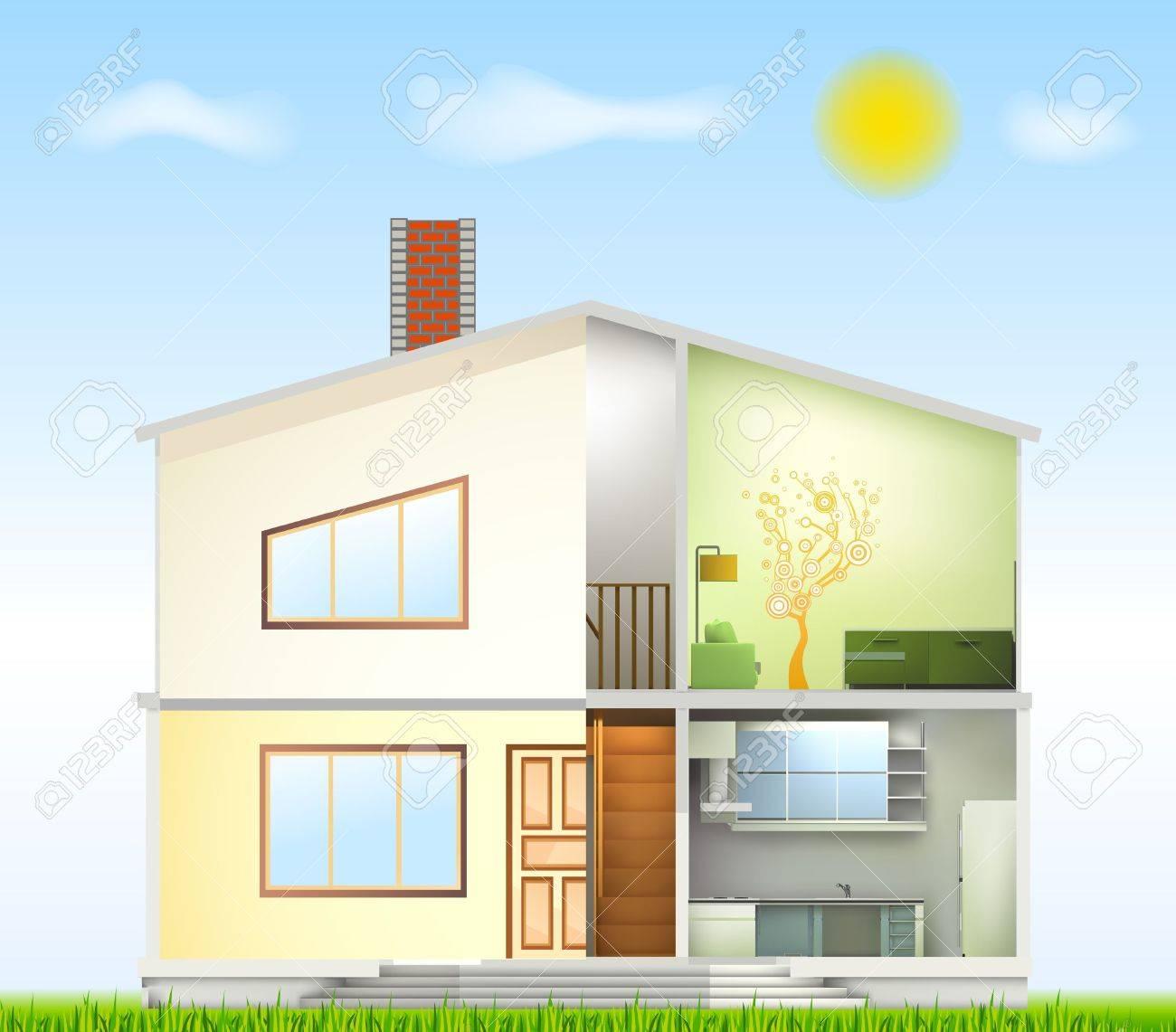 Schneiden Sie Im Haus Innenräume Und Fassade Teil Lizenzfrei ...
