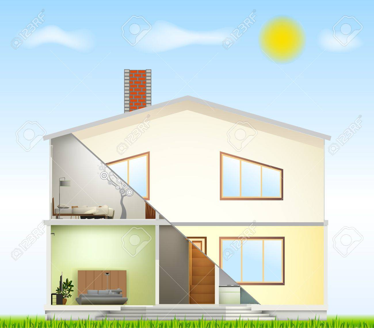 Cut in house interiors and part facade Stock Vector - 14488215