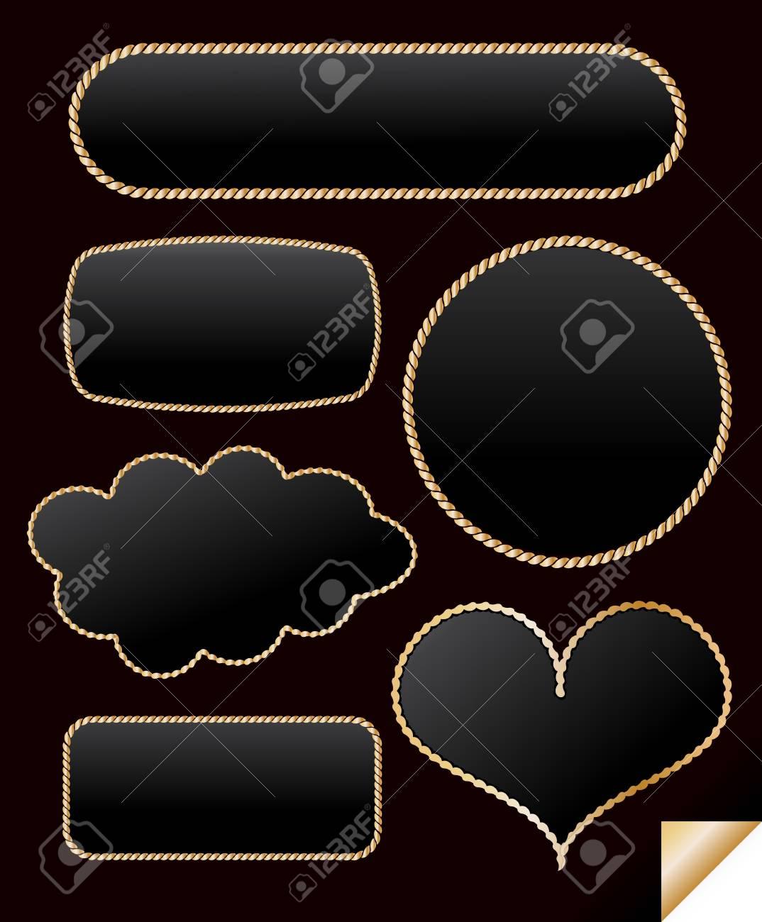 Golden frame from chain set Stock Vector - 14585305