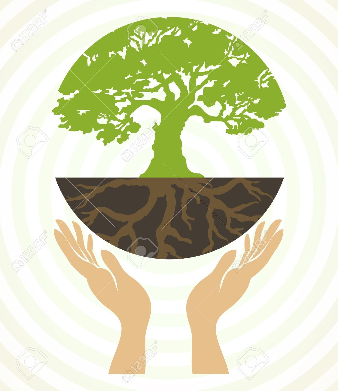 Tree icons with hands Stock Vector - 14714190