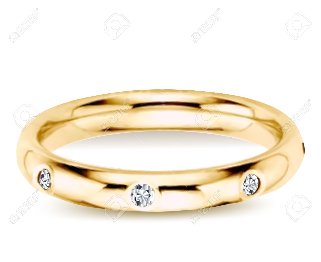 Golden ring with diamonds  Vector illustration Stock Vector - 14882745