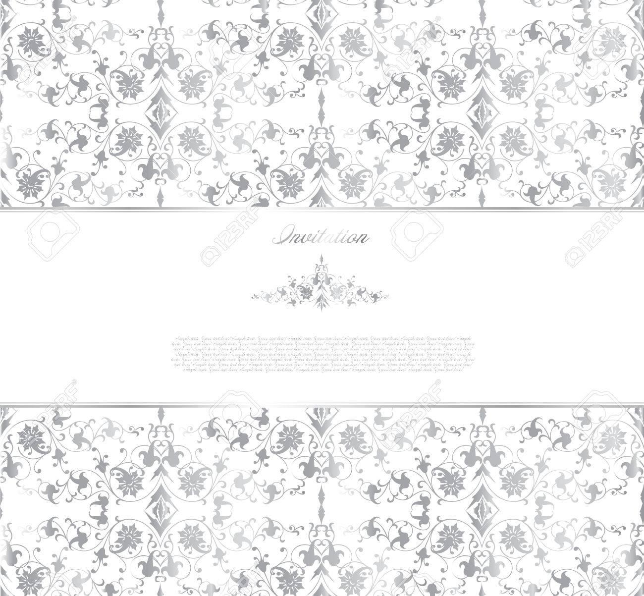 Floral silver background  Vector Stock Vector - 14882783