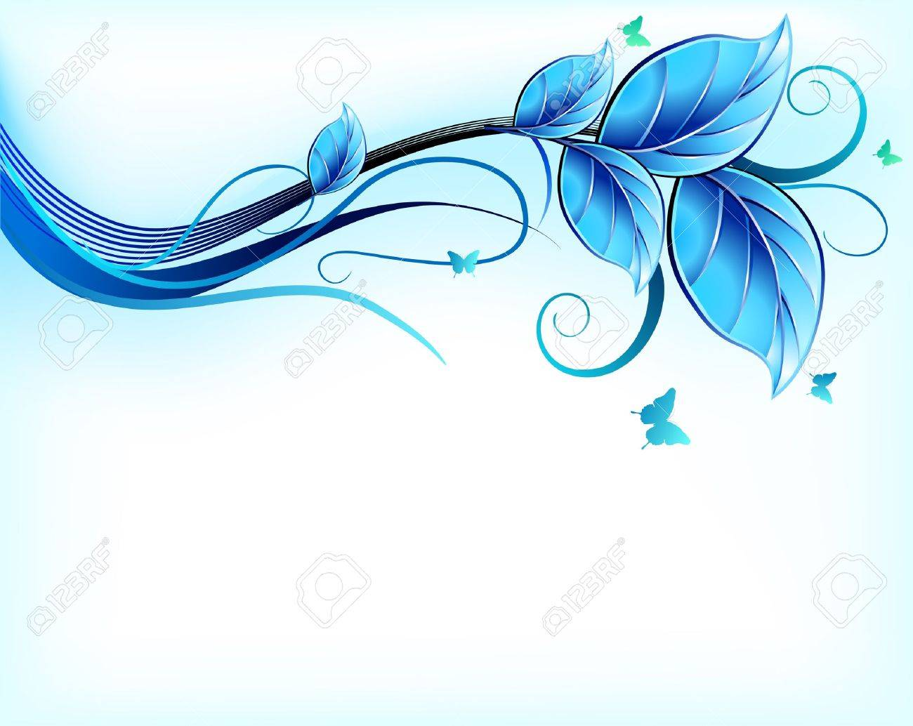 Blue Floral Background Vector Royalty Free Cliparts Vectors And