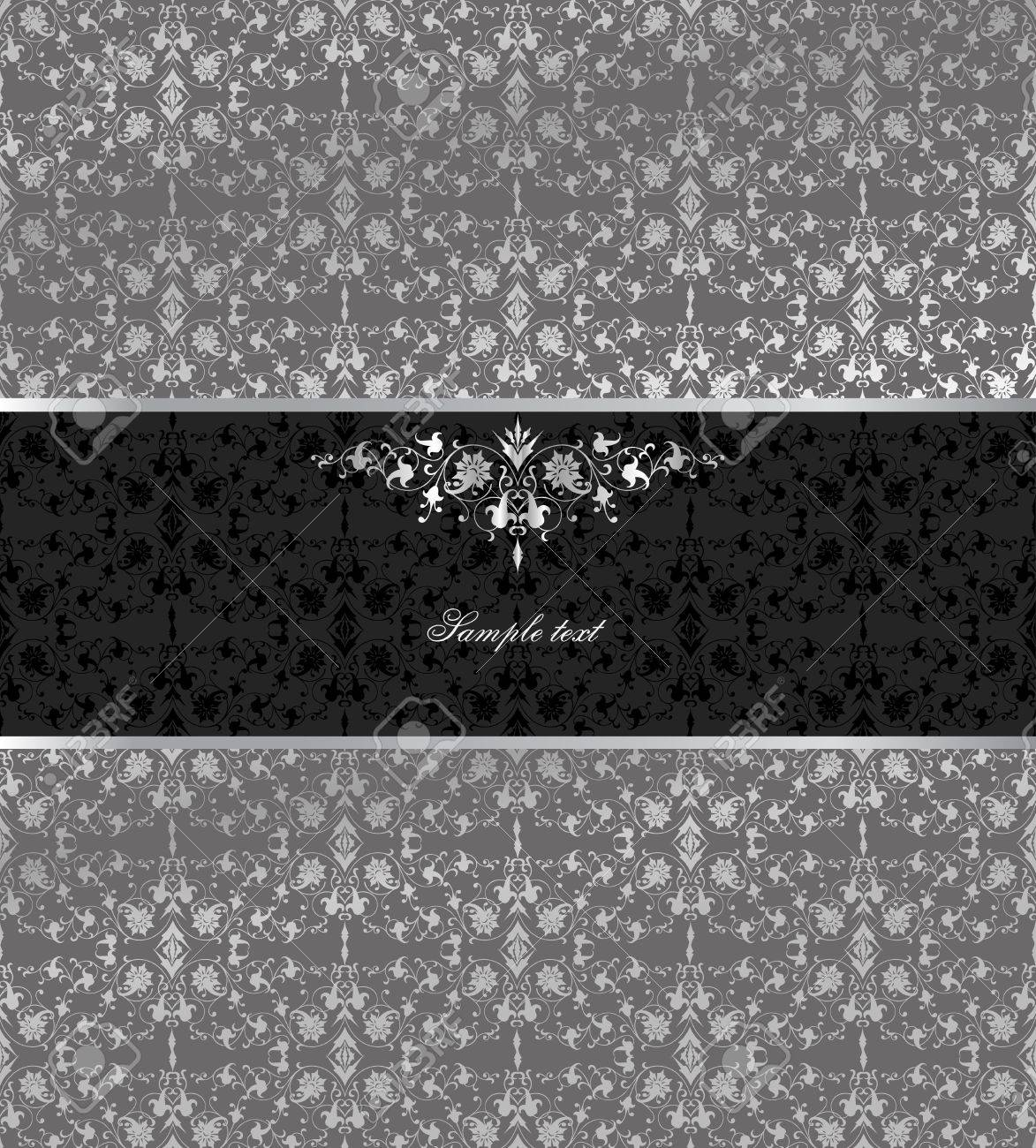 Floral seamless silver background  Vector Stock Vector - 15056796