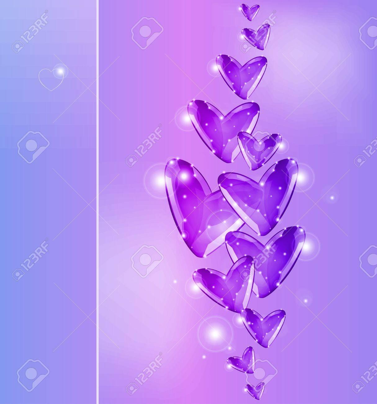 Bubbles of violet Hearts Stock Vector - 17352881