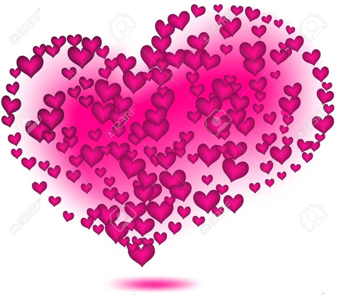 Pink hearts  Vector Stock Vector - 17412648