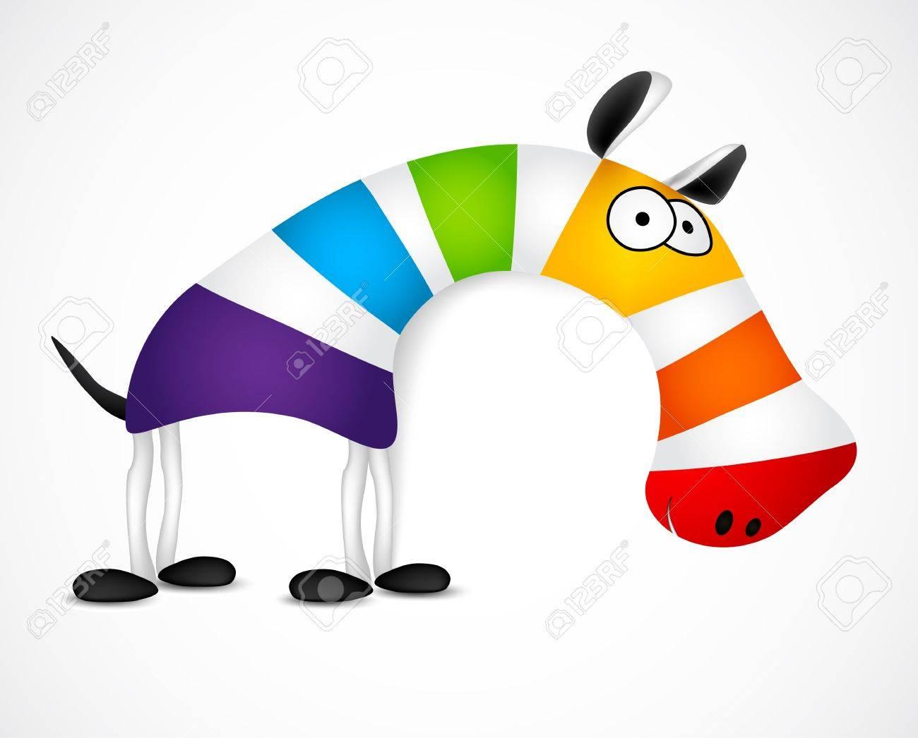 Colored striped zebra. Vector illustration - 20594797