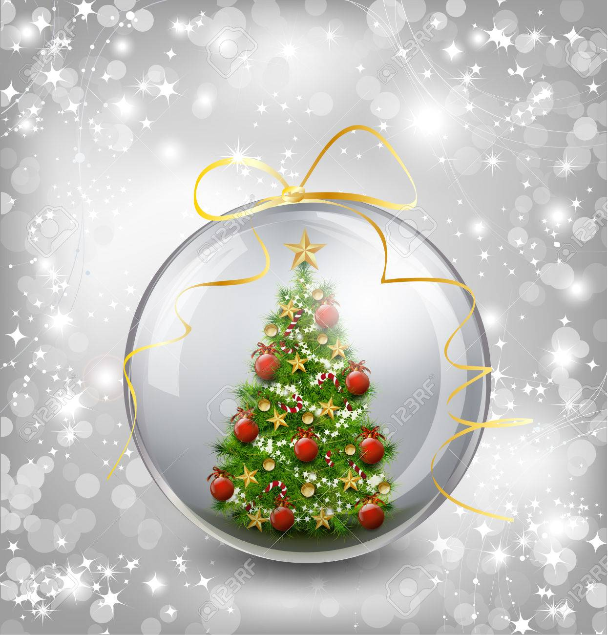 christmas card with snow snowflakes globe and christmas tree