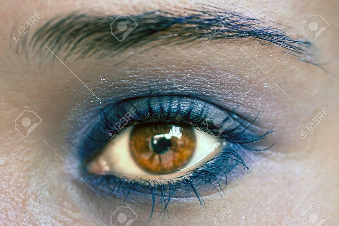 Blaue Augen Make Up Schöne Augen Make Up Makro Lizenzfreie Fotos