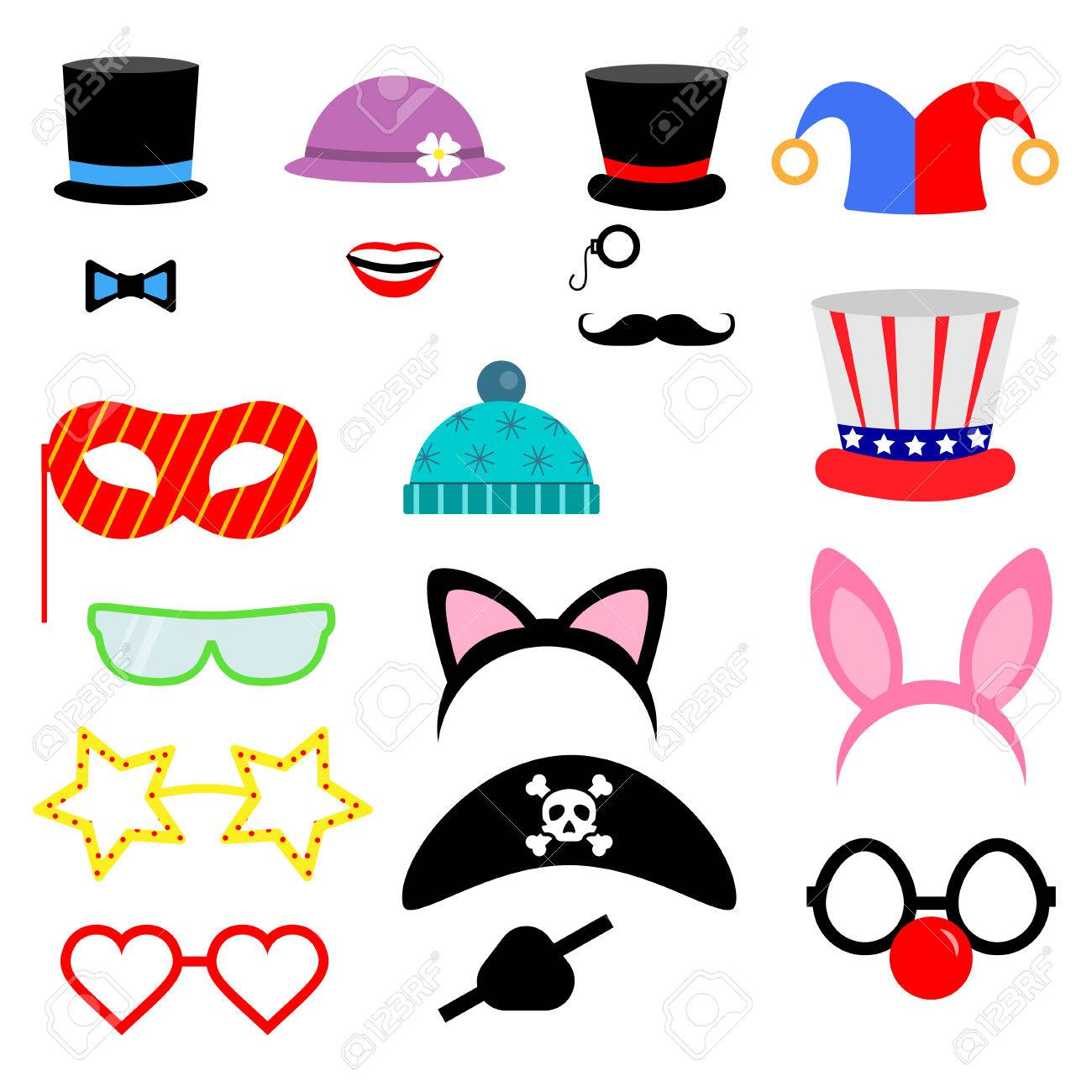 Party Birthday photo booth props    Vector illustration Flat