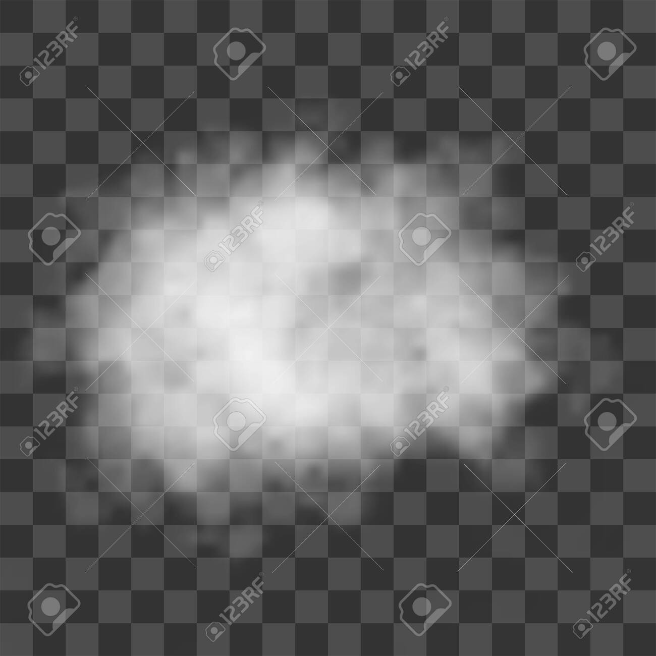 Clouds, white fog, smog on transparent background. Vector effect mist and smoke. - 142286035