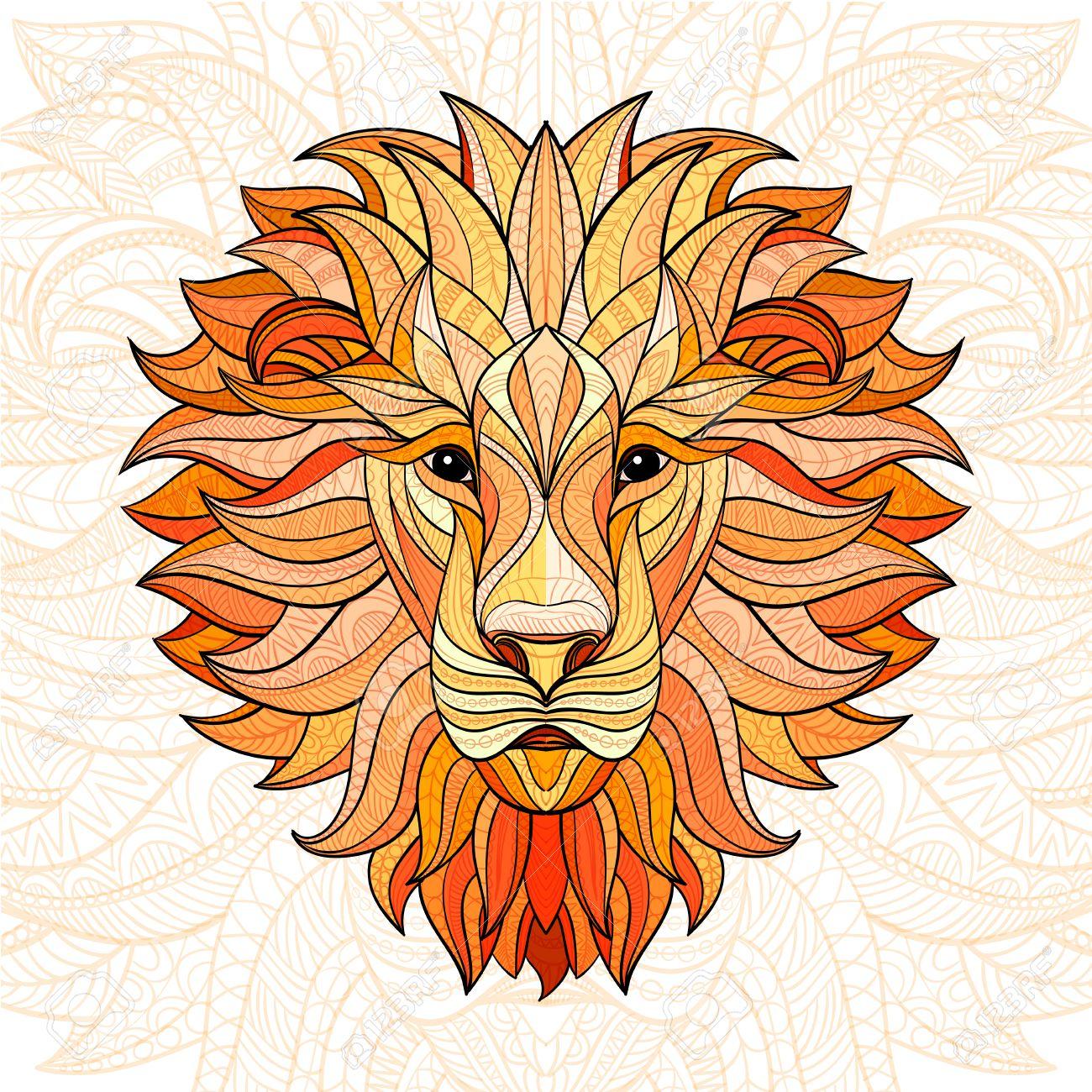 Lion Couleur Detaillee Dans Le Style Azteque Tete Modelee Du Lion Sur Fond Isole Indien Conception Totem De Tatouage Africain Vector Illustration Clip Art Libres De Droits Vecteurs Et Illustration Image 60990401