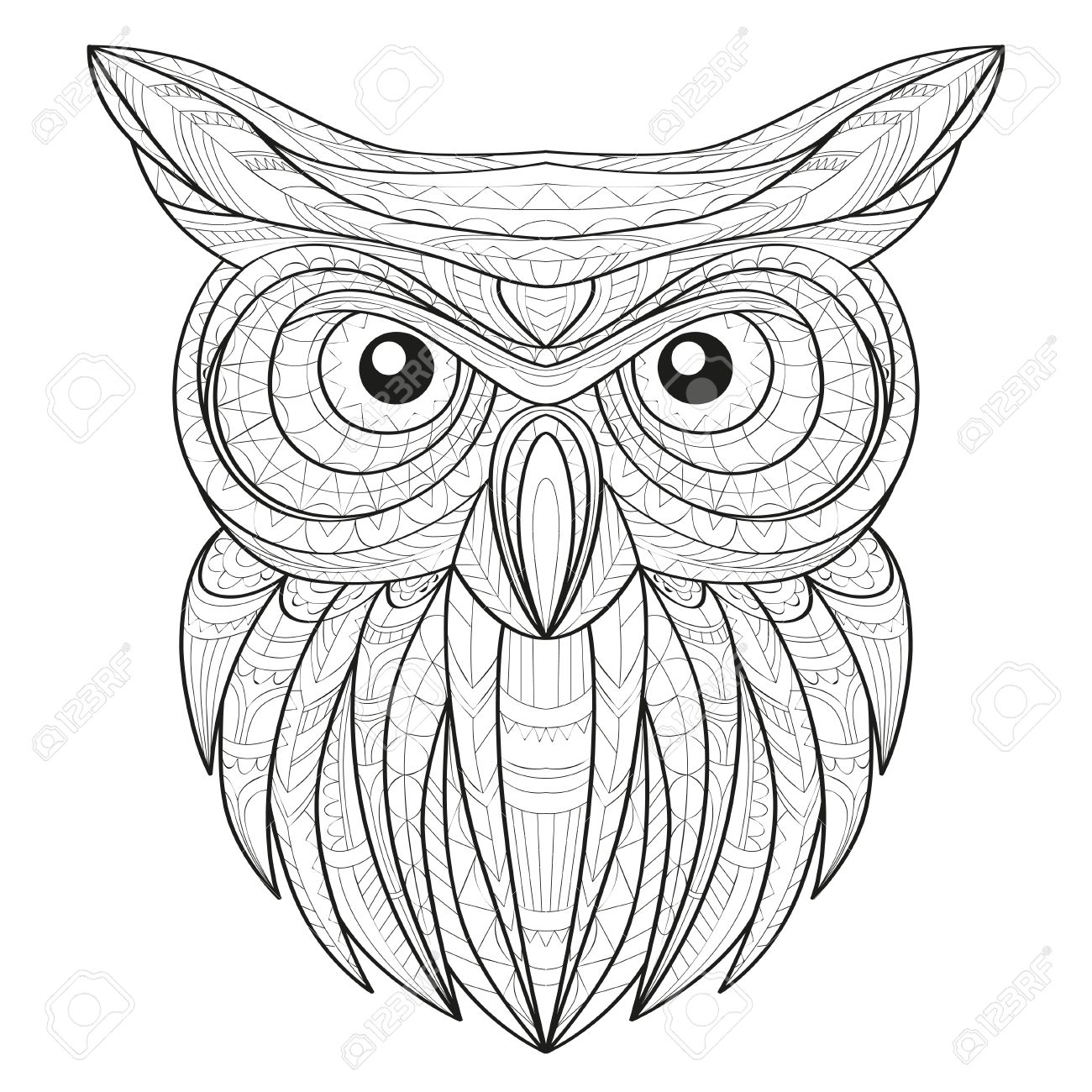 240e799b8c73e Hand drawn doodle outline owl illustration. Decorative in African indian  totem Ethnic tribal aztec design