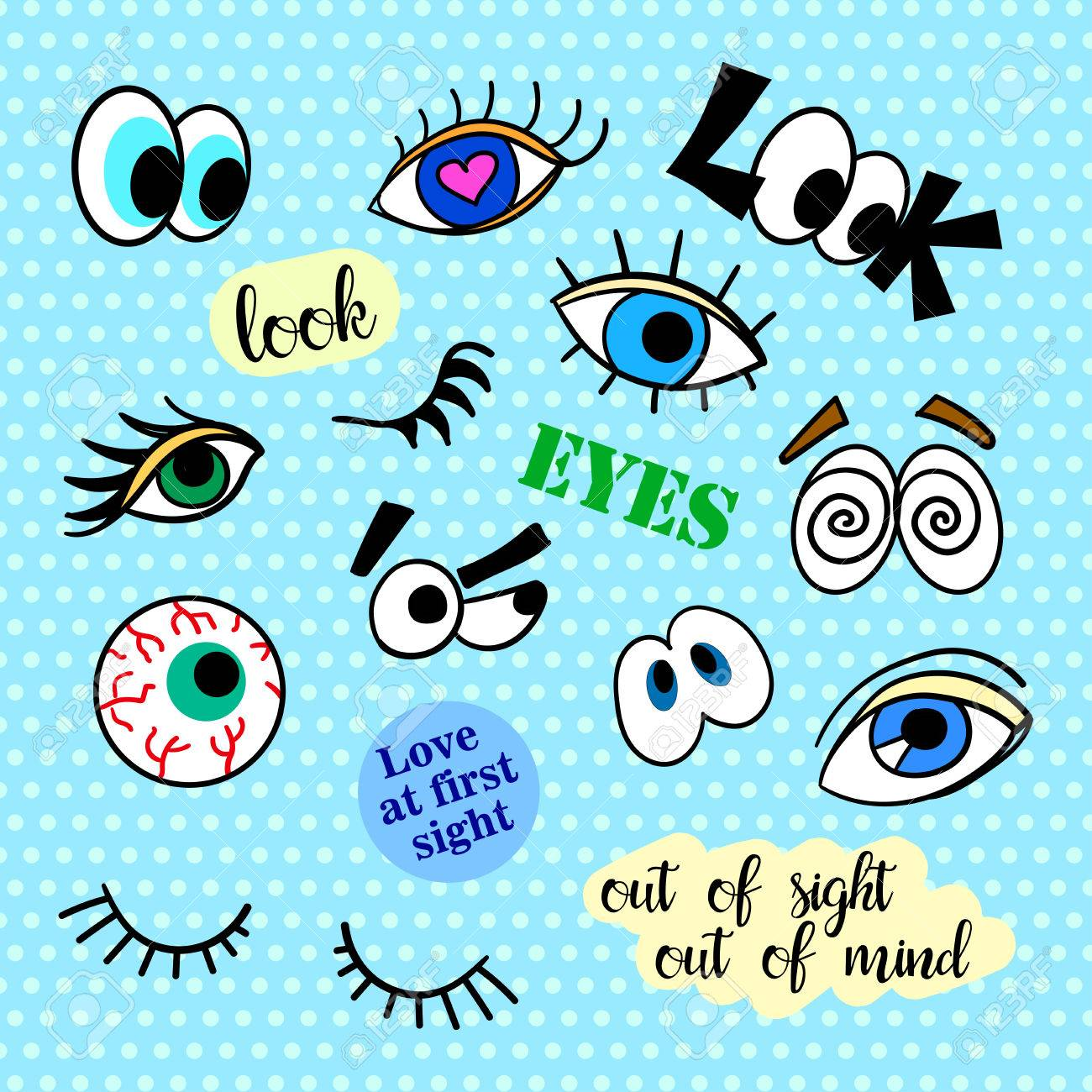 Fashion patch badges  Eyes set  Pop Art  Stickers, pins, patches