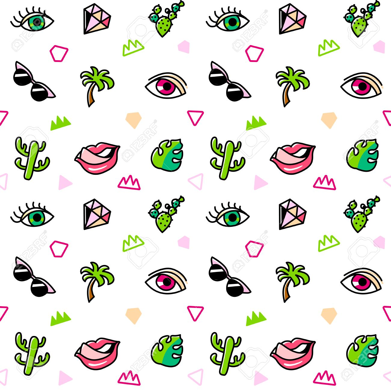 63924b3cc40d Seamless pattern with fashion patches. Pop art. Vector background in  cartoon 80s-90s