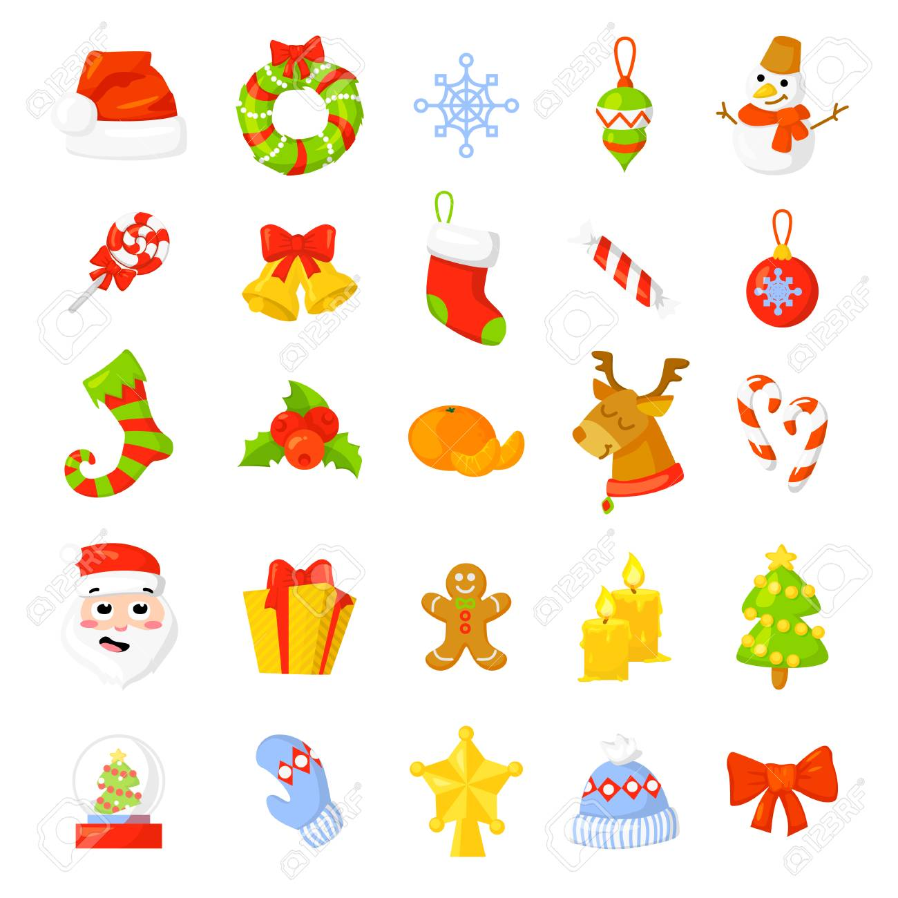 vector clip art christmas icon set collection vector cartoon new year traditional symbols icons objects