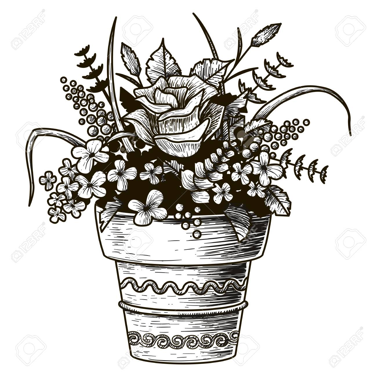 Flowers in a pot sketch illustration stock vector 81566172 sc 1 st 123rf com
