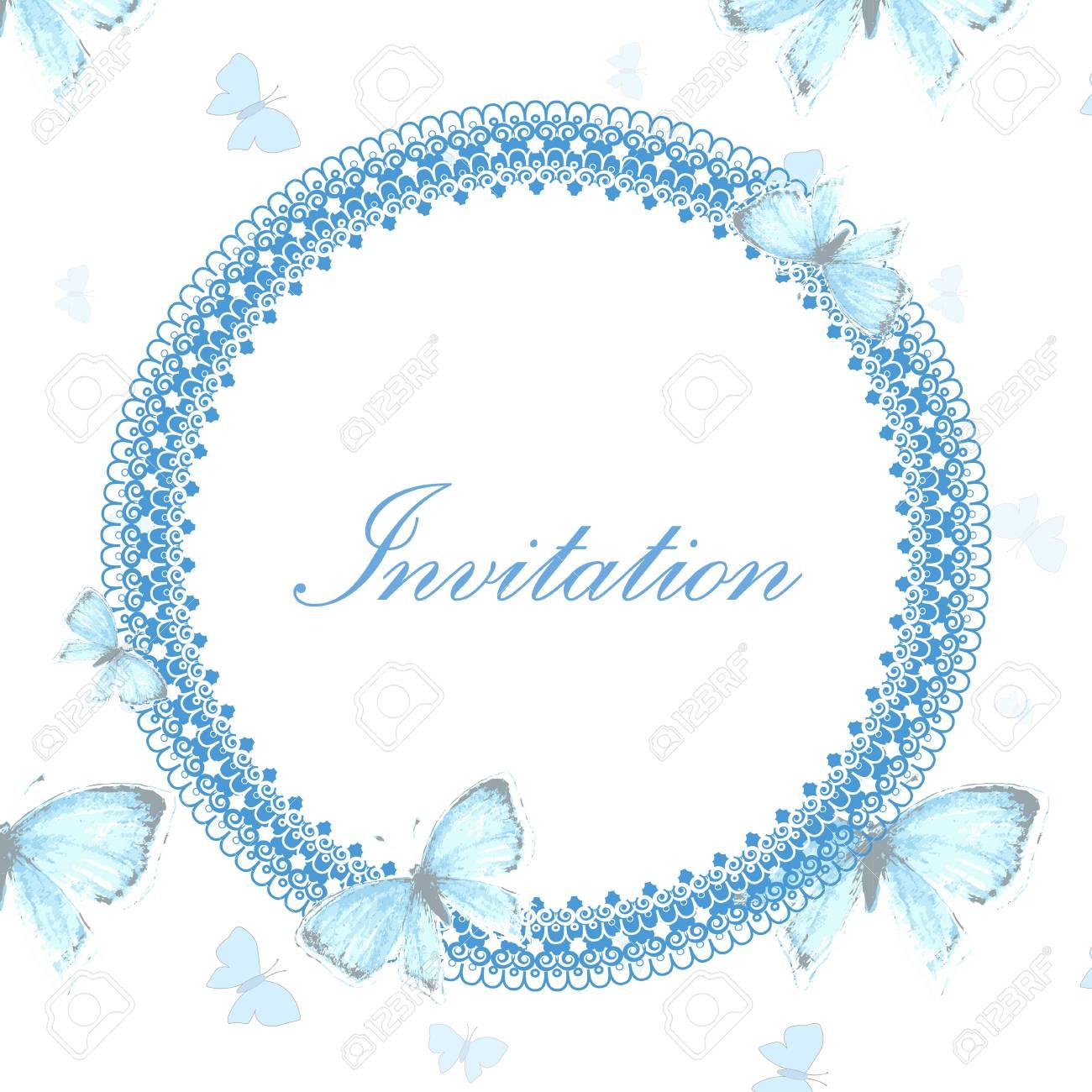 Hermosa Tarjeta De Invitación De La Vendimia Con El Azul De Cobre Mariposa En El Fondo Blanco Con La Mariposa Ilustración Vectorial De La Vendimia