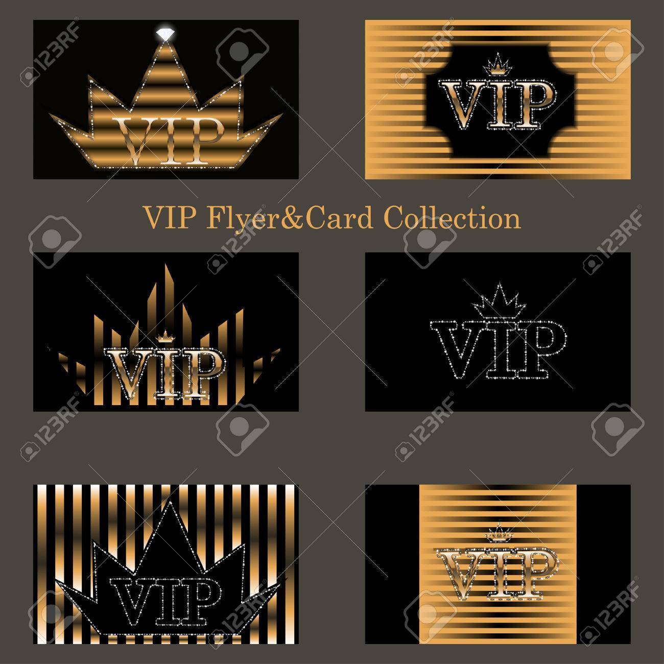 Vector set of vertical vip cards with golden foil ornate emblem set of vertical vip cards with golden foil ornate emblem striped texture and sparkles and diamonds premium templates for web or printed media design maxwellsz