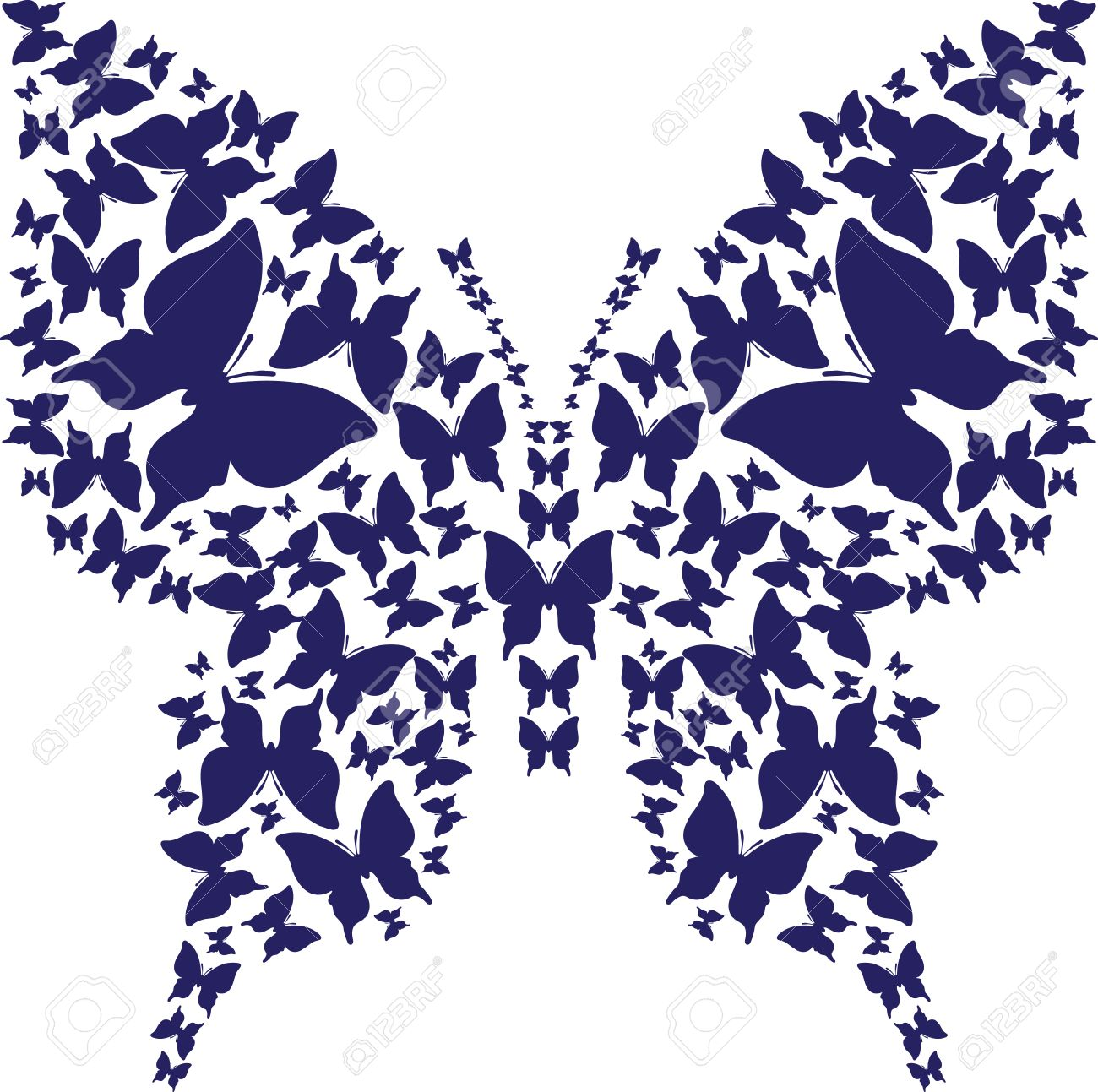 abstract stencil symmetry outline butterfly from dark blue