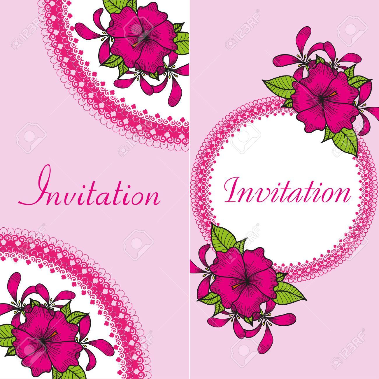 Tarjeta De Invitación Floral Con Flores Brillantes De Dibujo De