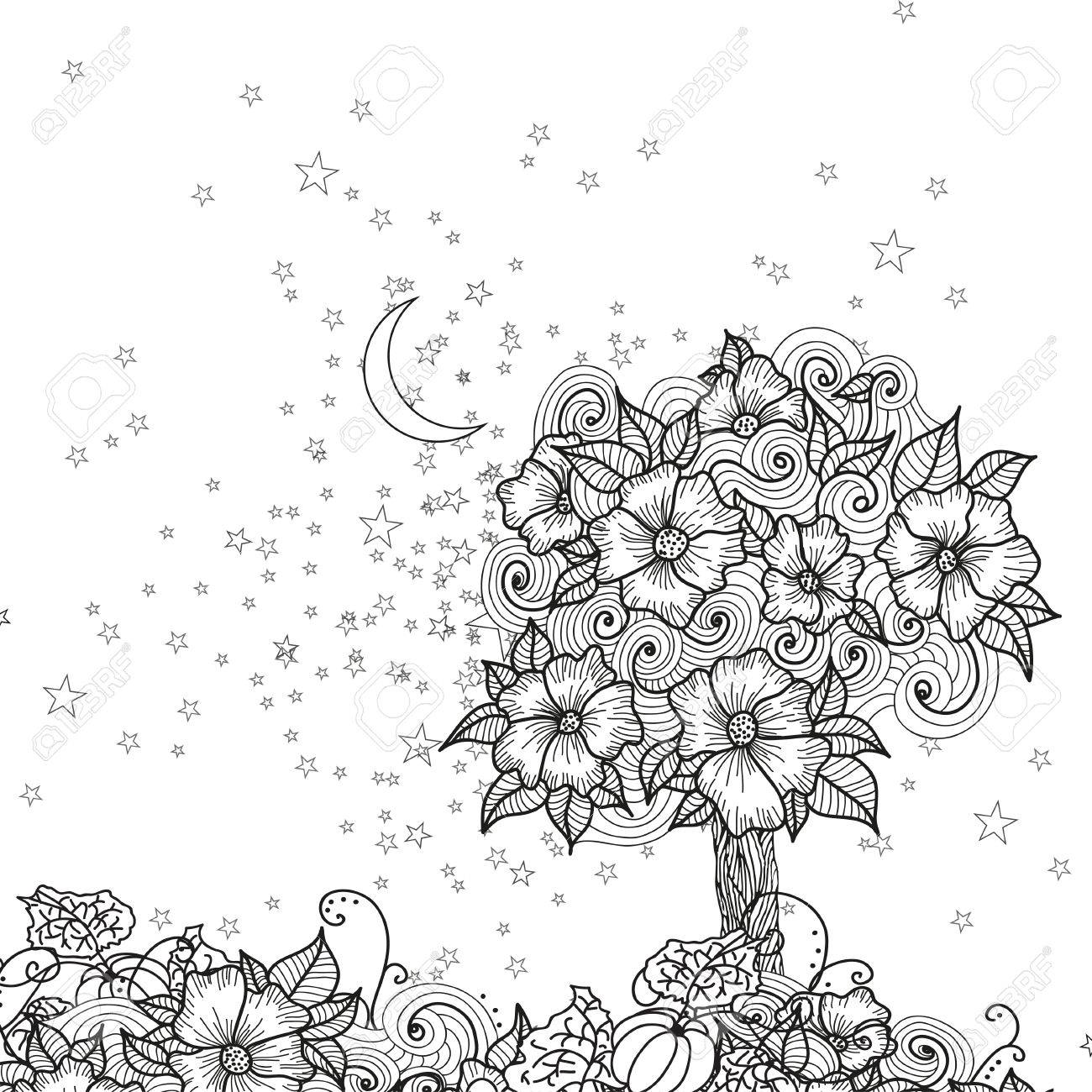 Diseño Tarjeta De La Noche Con Flores De Bosquejo Y Las Estrellas Y La Luna Para Colorear Ilustración Del Vector