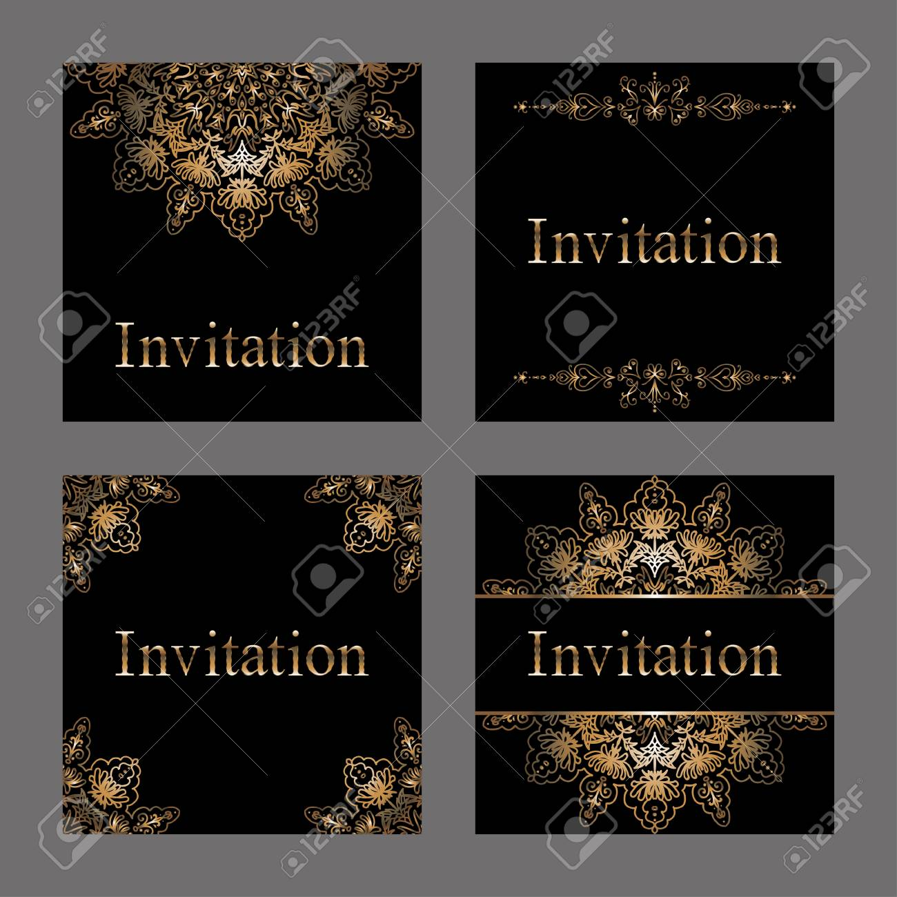 Vector set of invitation cards with golden foil patterns border vector vector set of invitation cards with golden foil patterns border and snowflakes premium templates for web or printed media design stopboris Choice Image