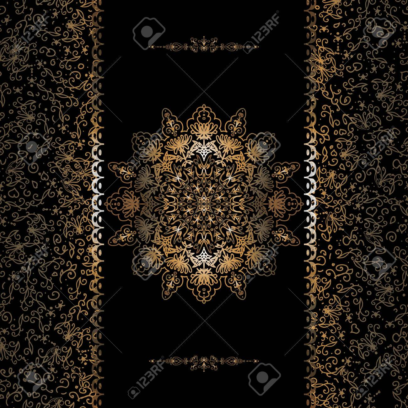 Vector of invitation cards with golden foil patterns border vector of invitation cards with golden foil patterns border and snowflake stock vector stopboris Choice Image