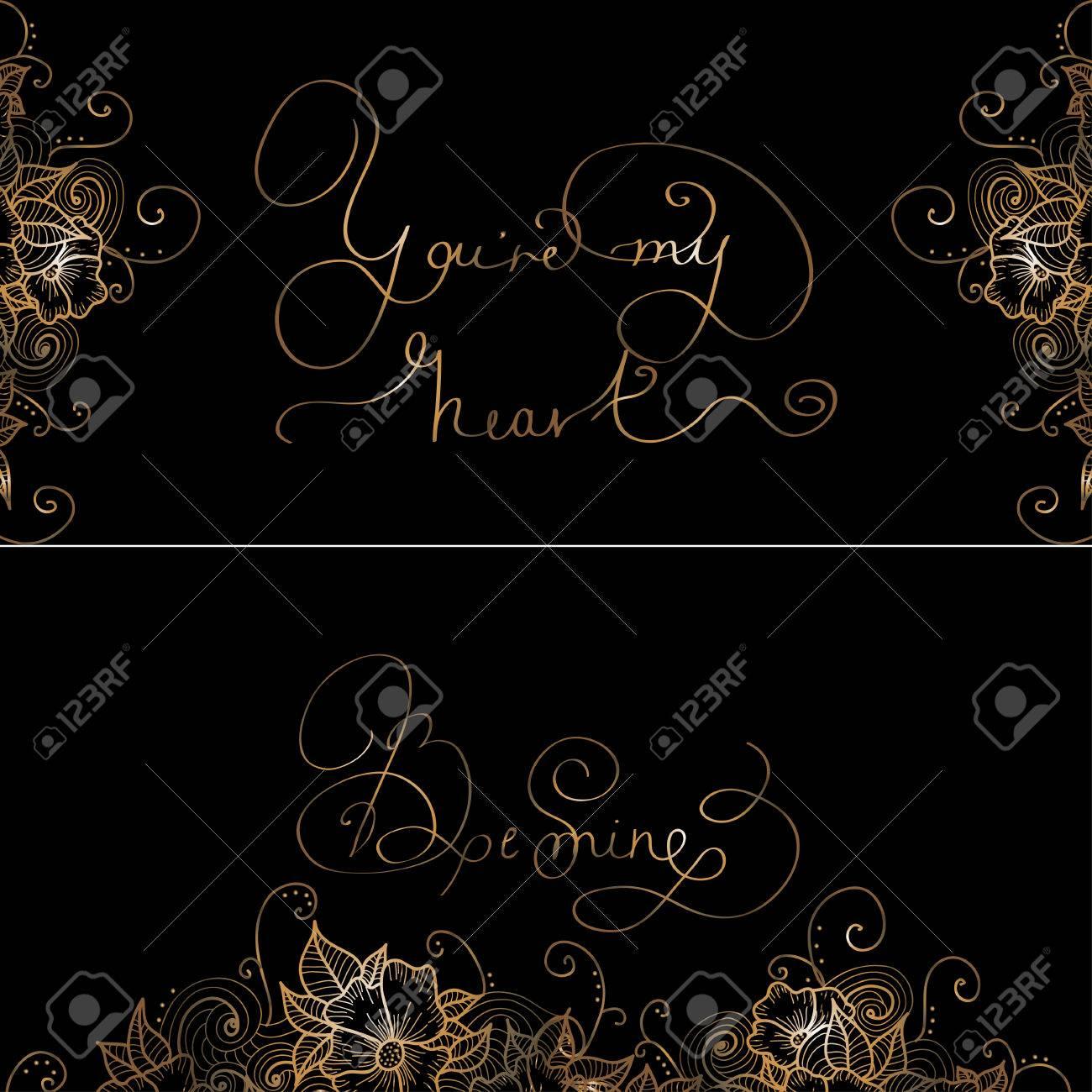 Dos Tarjetas Del Diseño Con Las Letras A Mano Original Es Volver A Mi Corazón De La Mina Be Para Las Tarjetas O Invitaciones Románticas Para San