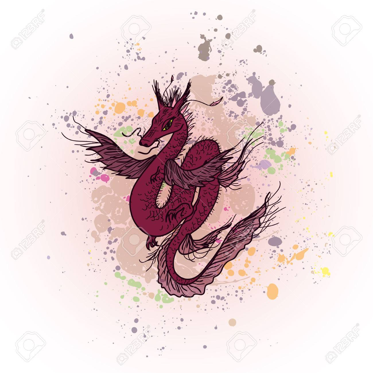 Top Wallpaper Abstract Dragon - 53763616-magic-fly-dragon-on-abstract-ink-background-chinese-dragon-background-for-t-shirt-design-of-textile-  HD_8575 .jpg