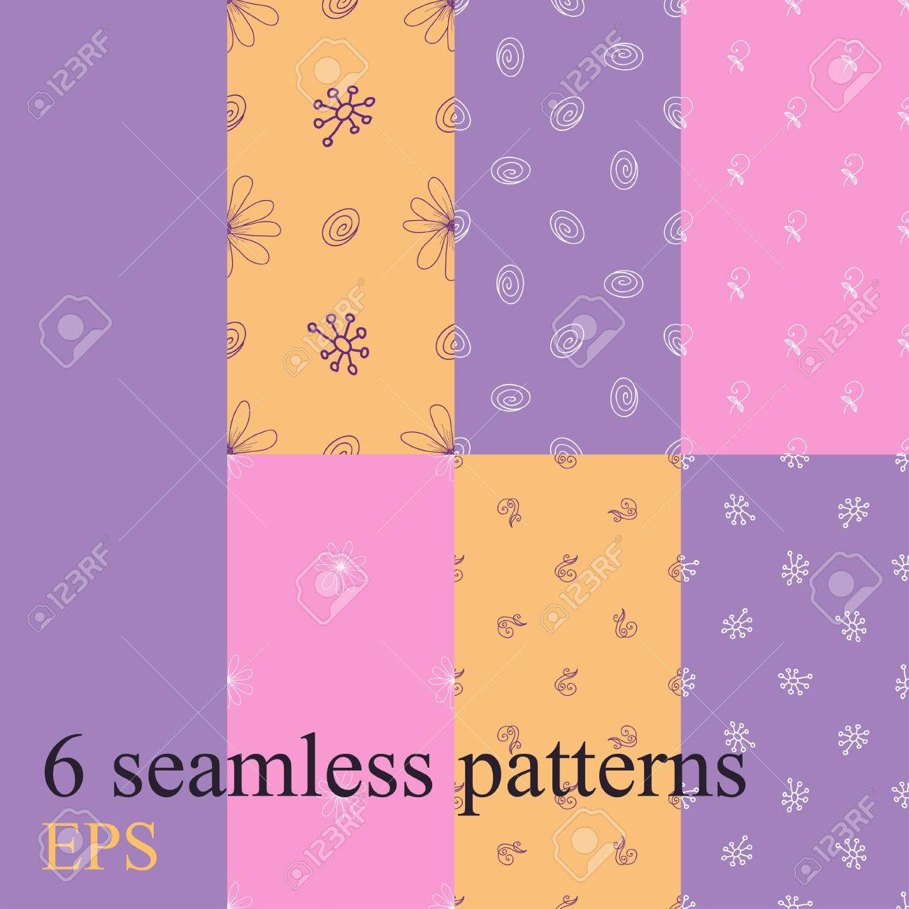 Set Seamless Pattern For Decoration Patterns In The Form Of