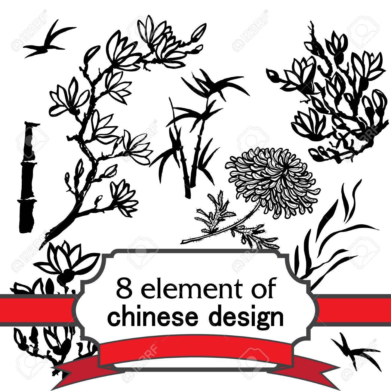 Satz Von 8 Floral Tinte Element Für Design In Der Chinesischen Oder ...