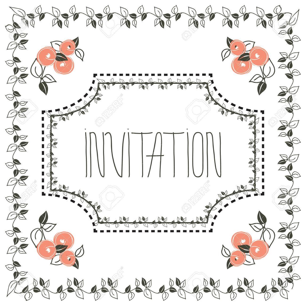 Estilización Tarjeta De Invitación Floral De La Vendimia Con El ...