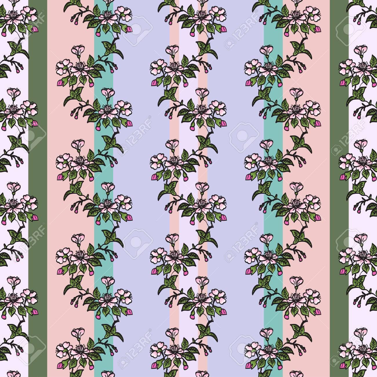 Seamless Vertical Vintage Pattern With Hand Drawn Twig Of Sakura